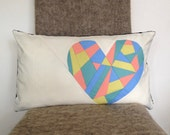 Geometric Cushion Cover Patchwork Pastel Heart