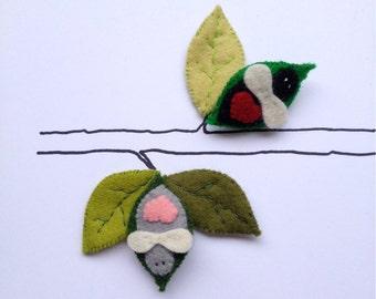Pin Brooch Felt Love Bug - choose your colour