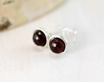 Garnet Stud Earrings, Sterling Silver Red Garnet Earrings January Birthstone Wire Wrapped Gemstone Post Earrings