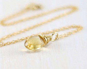 Gold Citrine Necklace, 14k Gold Filled Yellow Gemstone Pendant Wire Wrapped Yellow Gold November Birthstone