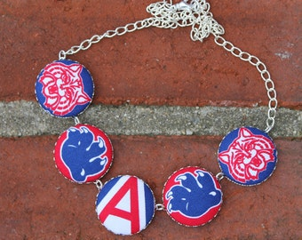 University of Arizona Fabric Covered Button Necklace