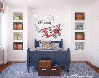 Airplane Wall Decal, Small Airplane and Personalized Banner Wall Decal, Airplane Wall Art, Airplane Wall Sticker