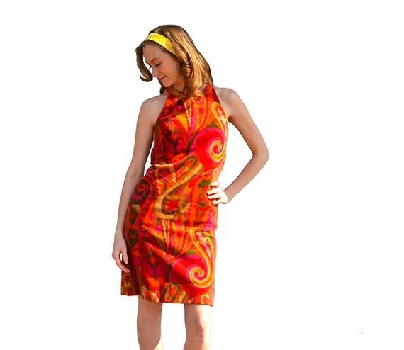 1960s Twiggy Gogo Dress Psychedelic Mod Sixties Rare Retro Groovy Threads Flower Child Hippie Disco Halter Mini Kaleidoscopic Color Designs