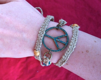 Peace Bro- Hemp Necklace/ Bracelet with Peace Sign and Blue and White Beads