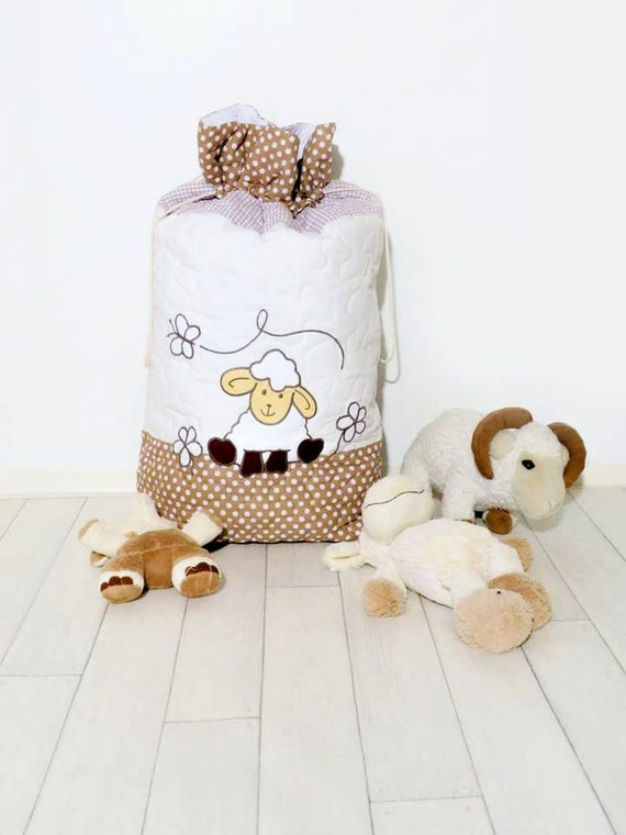 Toy Storage Bag, Toy Box,  Kids Organizer, Storage Baskets,  Eco Friendly Toy Storage,  Quilted, Applique, Lamb, Sheep Organizer beige,white