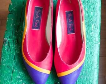Vintage multicolor shoes - rainbow flats -