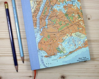 BOOK,  New York, Manhattan, Brooklyn,, 6x8,5 inch, 288 p., ruled, travel journal, diary, notebook, atlas, map, vintage