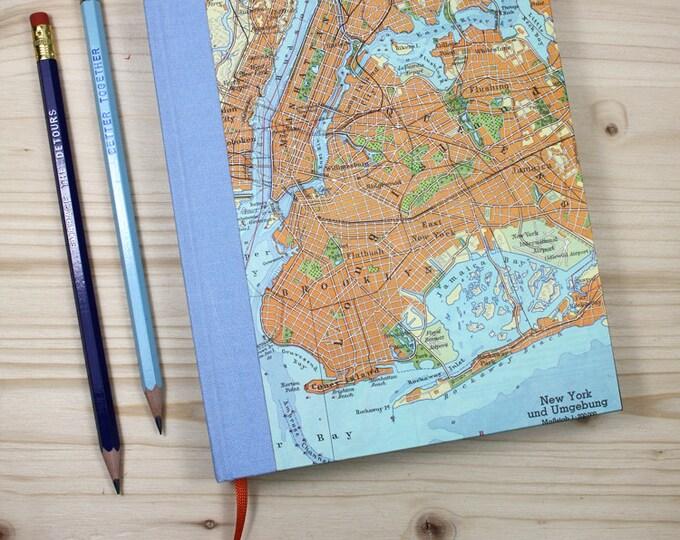 BOOK,  New York, Manhattan, Brooklyn,, 6x8,5 inch, 288 p., ruled, travel journal, diary, notebook, atlas, map, vintage