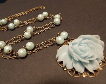 Blue and Bronze Victorian Rose Statement Necklace