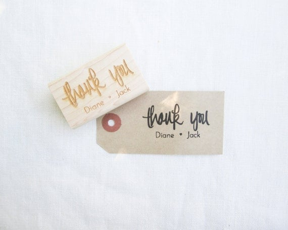 Personalized Wedding Calligraphy Thank You Stamp - Handwritten Calligraphy Thank You wedding rubber stamp personalized with names H0027