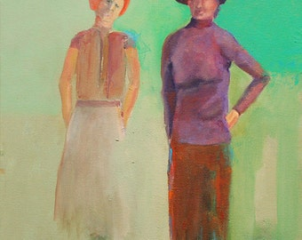 """Original oil painting Red hats 16""""x20:"""" gallery wrap canvas Jan Smiley"""