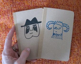blank notebook journal / blank sketchbook / blank notebook with fun graphic / moleskin type pocket journal