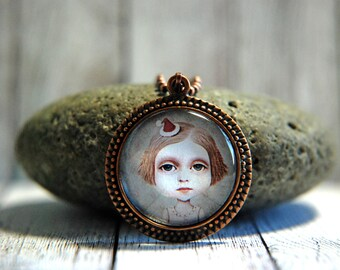 """1"""" Round  Glass Pendant Necklace or Key Chain - Whimsical Girl in Christmas Hat"""