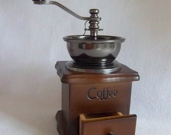Like New Coffee Mill Grinder - Non Electric Hand Turned - Mid Century - in Original Box