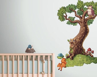 Fairy tale tree Kids fantasy vinyl wall sticker | Childrens wall decoration | bedroom wall art | 58 x 147cm / 23 x 58 inches |