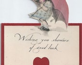Vintage Valentine Card Twelvetrees Girl with Umbrella 1919