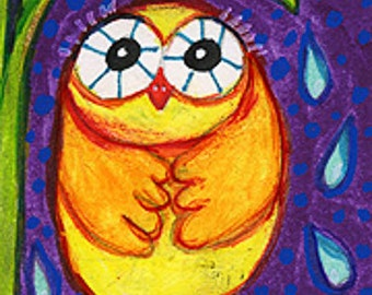 Funny Owl Print, Owl Wall Art, Children's Room Decor, Yellow Owl Art, Girls Room Decor, Nursery Decor, Shivering Owl by Paula DiLeo_35111