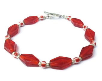Red Pressed Glass Diamonds and Seed Bead Bracelet with Silver Toggle Clasp