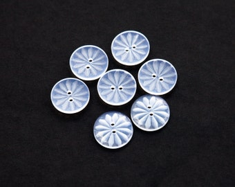 """18 Vintage 11/16"""" Plastic 2 Hole Buttons. Transparent with an Etched Floral Design. Sew Through Buttons. Sewing. Item 1164P"""