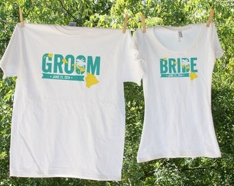 Hawaii Bride & Groom with date - two shirts-TW