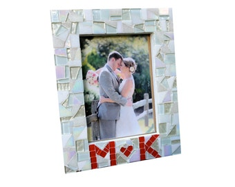 Mosaic Picture Frame - Personalized, Wedding Photo Frame - Initial Decor, Engagement Gift, Gift for Couple - Love, White, Glass, 5x7