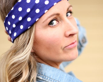 Buy1 Get1 Women's Navy Blue white Polka Dot  Headband, Gym headband, Head cover, Hair Wrap, or Head Wrap and Tapered Cut for Women and Teens