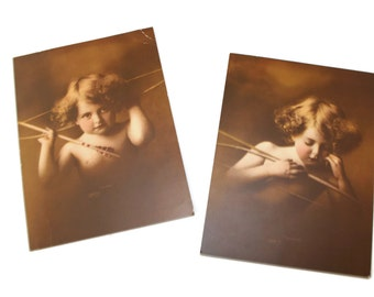 Antique photo prints Cupid Asleep No 2830 and Cupid Awake No 2829 1897 Photographs by M.B.Parkinson. Sepia prints. Valentine's gift for her.