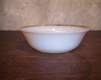 Fire King Jane Ray Berry Bowl white milk glass with gold trim