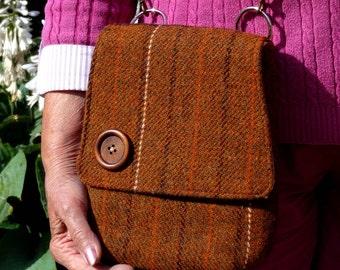 Shoulder Bag, Scottish Tweed, Brown, Tan, Leather, Cross Body, One Of A Kind, Harris Tweed Bag, Brown Shoulder Bag, Leather. Cross Body Bag