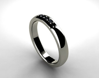 Palladium ring with black diamonds, modern wedding band, black diamond wedding ring, gothic, engagement, modern diamond ring, palladium band