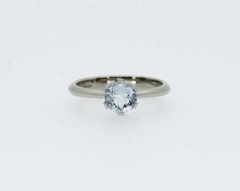 Aquamarine engagement ring, white gold, solitaire ring, white gold engagement ring, blue, aquamarine solitaire, thin, simple, unique, crown