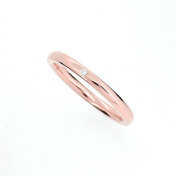 Rose Gold Wedding Band With Diamond Thin Ring