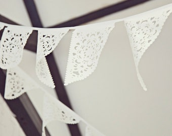 Outdoor wedding lace bunting, ivory bridal garland
