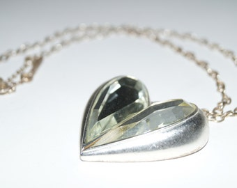Stunning Vintage Mirrored Heart Necklace