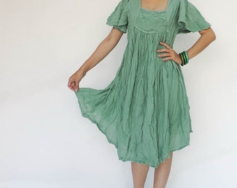 NO.9 Mint Cotton Bell Sleeves Tunic Dress, Day Dress