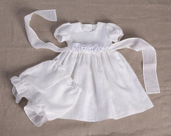Baby girl baptism linen dress bloomers baby special occasion white dress wedding party flower dress girl blessing gown baby girl photo prop