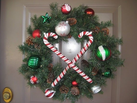 Holiday Snow Covered Evergreen Pinecone Wreath Candy Cane Wreath is made with Shatter Proof Ornaments, Front Door Christmas Wreath,