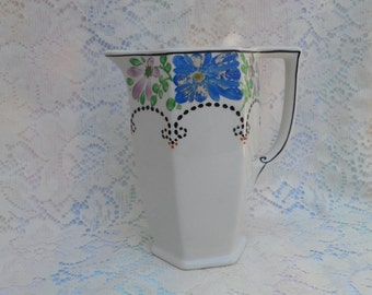 Art Deco Porcelain Pitcher Hand Painted Purple and Blue Flowers BCM Nelson Ware Made in England 1930's Boho Cottage chic