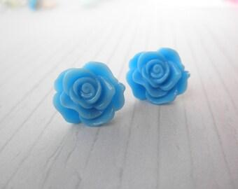 Sky Blue Rose Post Stud Earrings