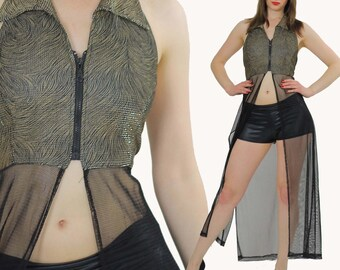 90s Sheer lace net coverup Boho gold metallic duster disco stripper dress M