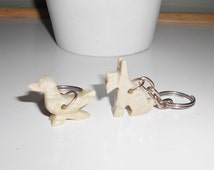 Marble Keychains Animals Mexico souvenir hand carved Mexican collectible Duck or Terrier 1970s vintage