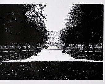 London - Kensington Palace in Winter - limited edition screenprint