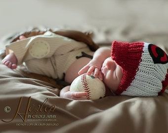 Cincinnati Red Baby Hat,  Newborn Photo Prop, Newborn Boy Reds Baseball Hat, Baby Cap, Baby Boy Hat, Baby Knit Hats, Cincinnati Red Hat