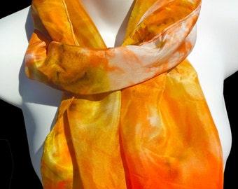 "Orange Cream SILK SCARF. Hand Painted Silk Scarf by New York City artist Joan Reese/100%Silk/11''x60"""