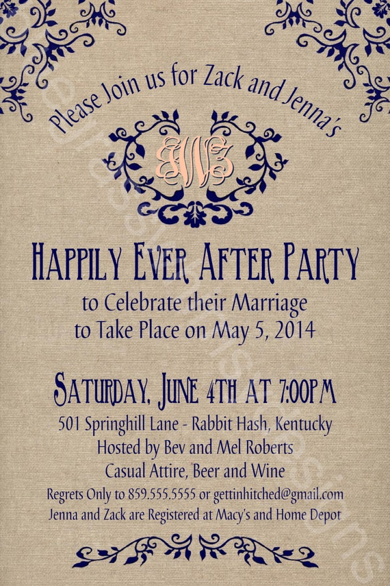 Wedding Party Invitations After Getting Married Abroad Rustic Mason