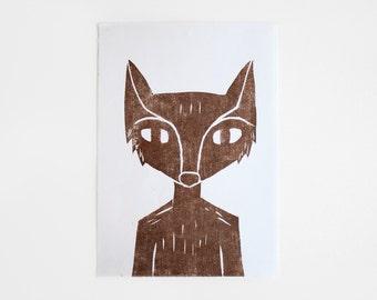 FOX Woodblock / Woodcut Print