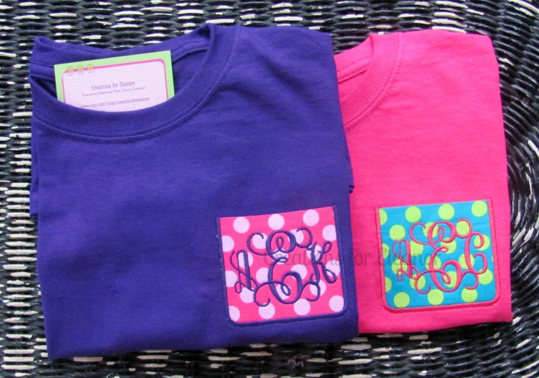 Girls monogrammed pocket t shirts girls custom pocket t for Custom pocket t shirts