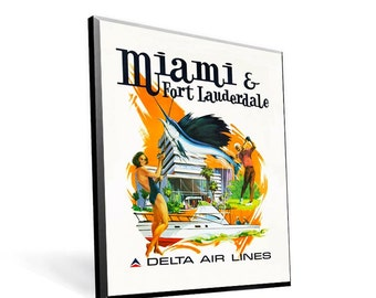 Vintage Travel Reprint Delta Airlines Miami on 8x10 PopMount Ready to Hang - FREE SHIPPING (Contl US)
