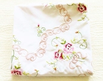 Vintage Cottage Home Rose Embroidered Table Linen, Olives and Doves
