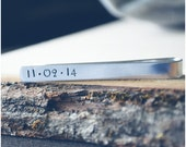 Custom Date Tie Bar - Gift for Dad - Aluminum Customized Tie Bar - New Baby - Hand Stamped Wedding Tie Bar - Grooms Gift - Father's Day